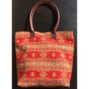 Minnetonka Baja Woven Tote Bag Leather Handles